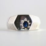 Dark blue sapphire ring for men 1