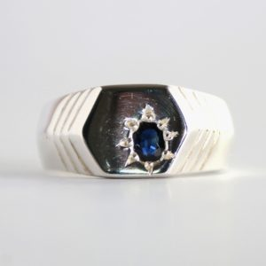 Dark blue sapphire ring for men