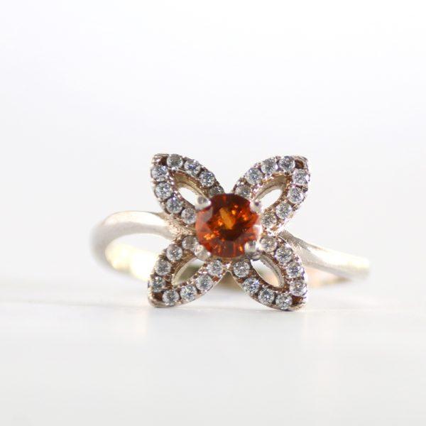 Hessonite Garnet Flower Ring
