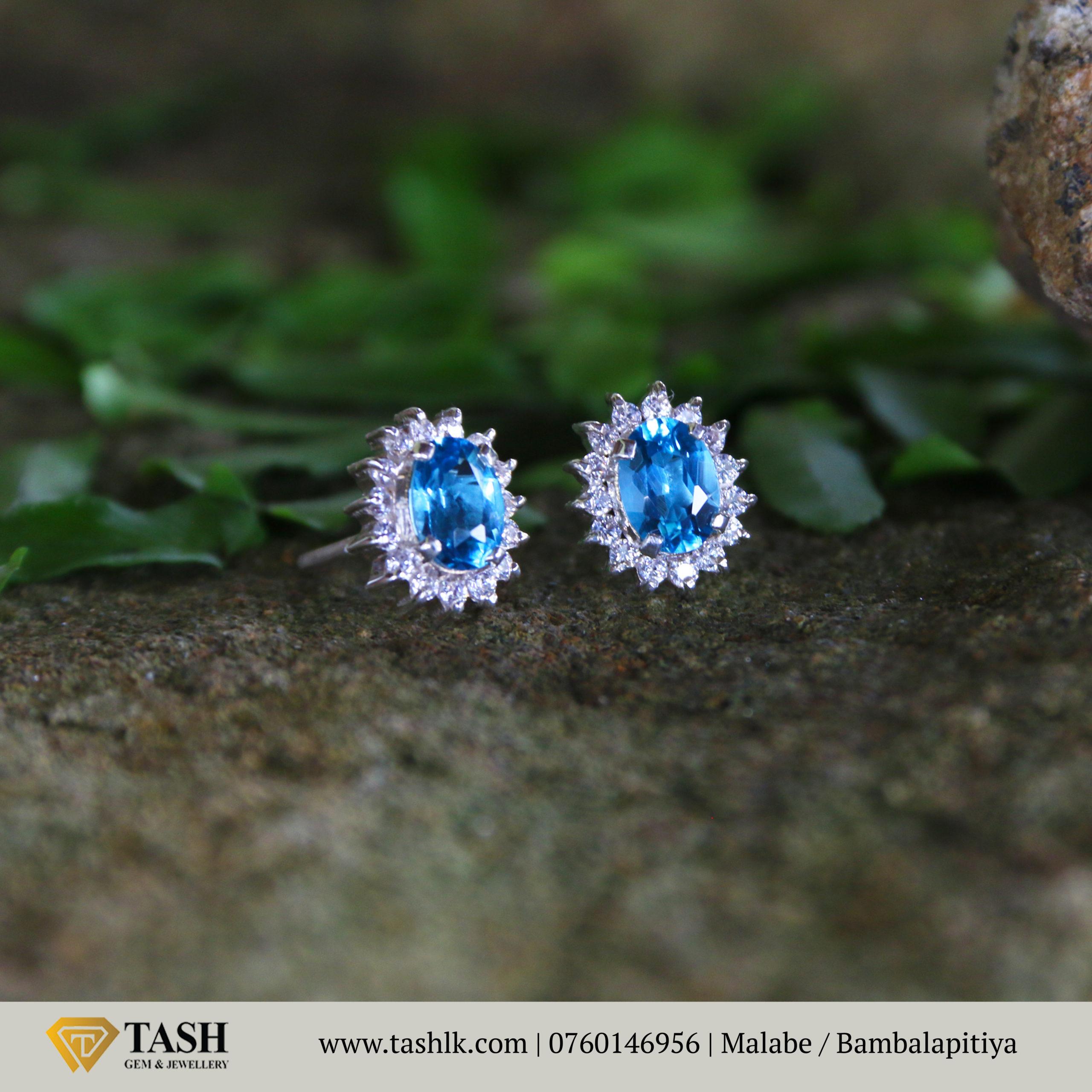 Blue Topaz Rose Earring
