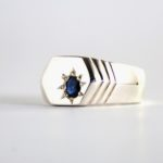 Dark blue sapphire ring for men 3