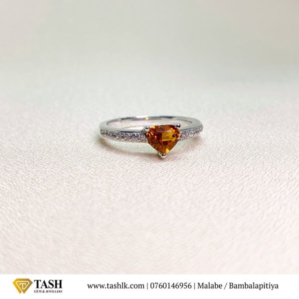 Hessonite Garnet Heart Ring