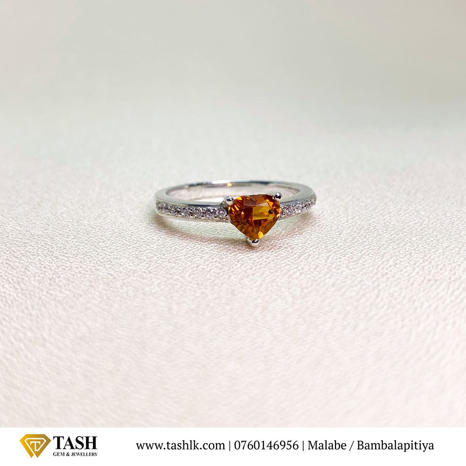 Hessonite Garnet Heart Ring