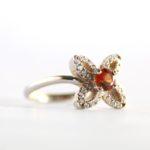 Hessonite Garnet Flower Ring 2