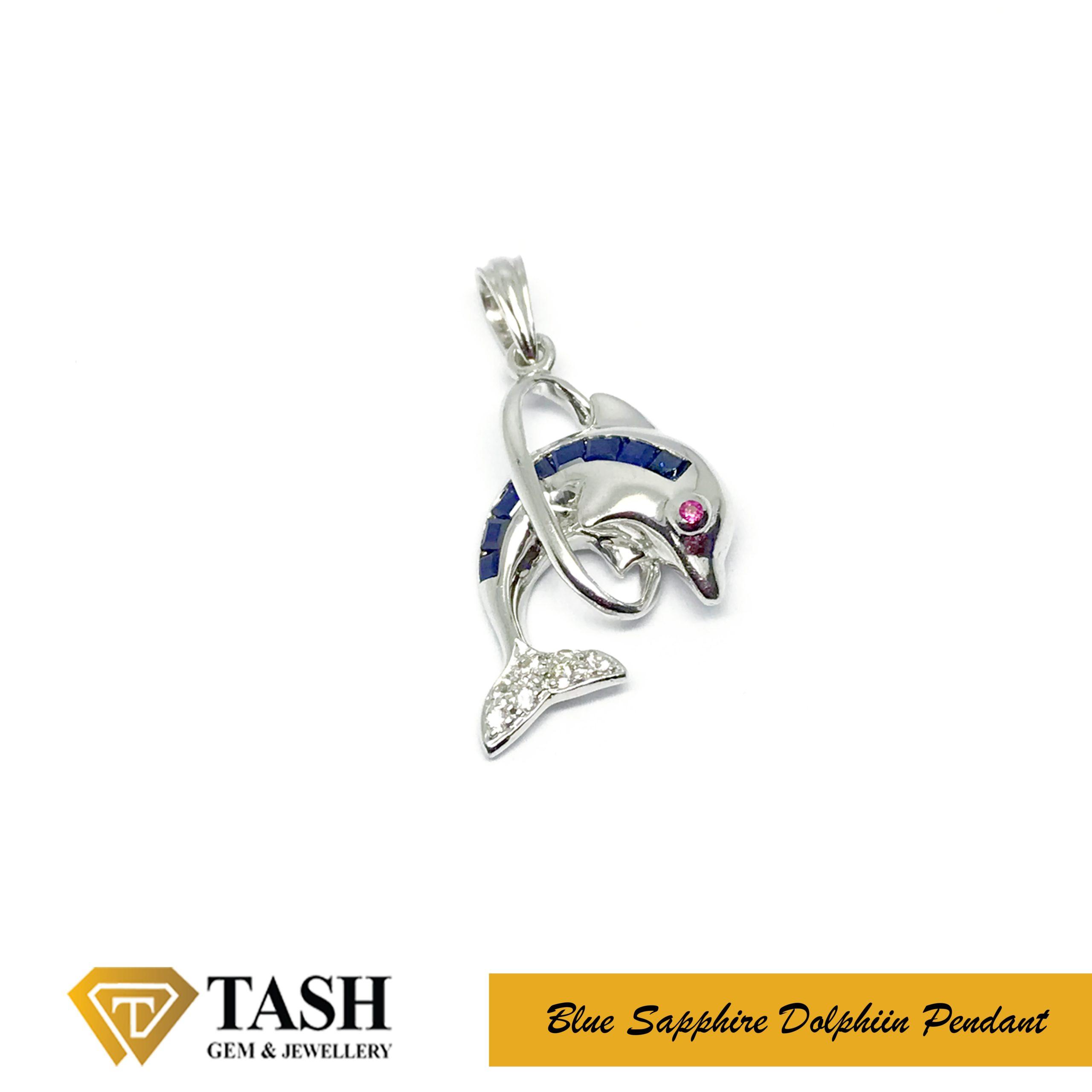 Dolphin Blue Sapphire Pendant