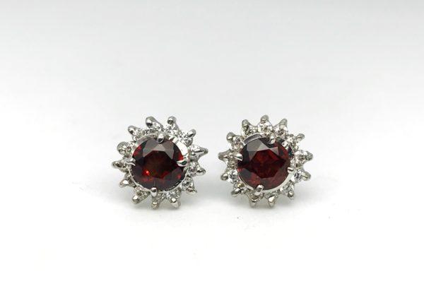 Red Garnet Rose Earrings