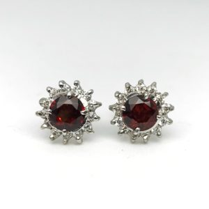 Red Garnet Rose Earrings