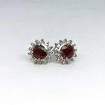 Red Garnet Rose Earrings 2