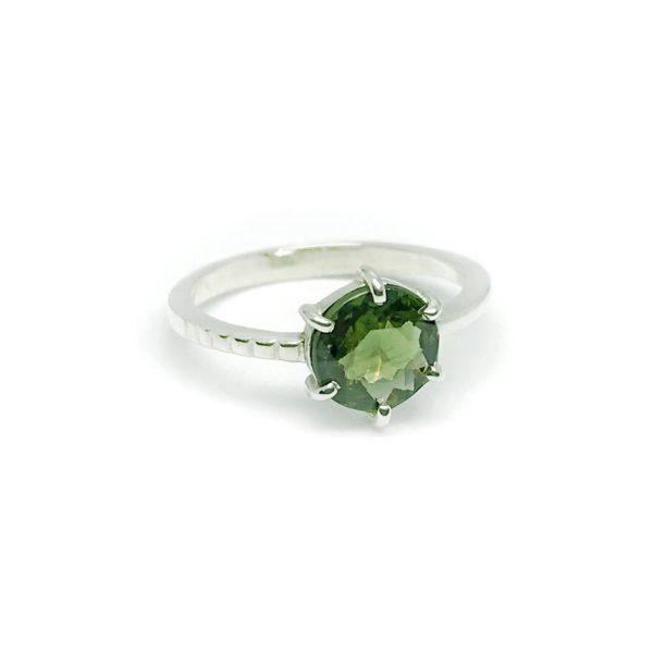 Round Green Tourmaline Ring