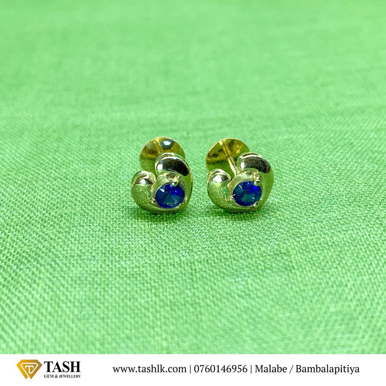 Blue Sapphire Ear Studs in 22k Gold