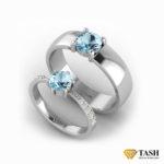 Aquamarine Couple Rings