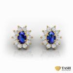 18K Blue Sapphire Cluster Earrings