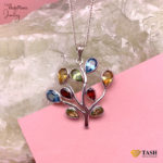 Multicolroed stones tree pendant