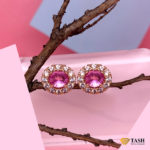 Pink Sapphire Ear Studs