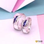 Channet Set Sapphire Couple RIngs