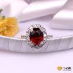 red Garnet Cluster Ring