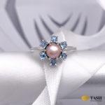 Pearl & Blue Topaz Flower Ring