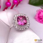 Pink Tourmaline Cluster Ring